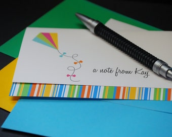 Bright Kite, personalized or custom note cards, set of 6 greeting cards