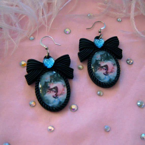 Cosmic Wolves Small Cameo Earrings