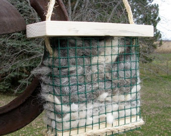 Bird Nesting Fiber Holder filled with Alpaca Fleece