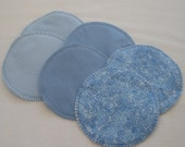Soft Flannel Nursing Pads, 3 Pair in Shades of Blue, Cotton Flannel and Bamboo/Cotton Fleece