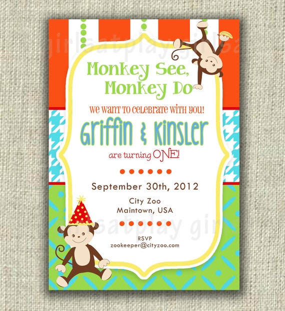 Boy Birthday Invitation Invite Monkey Twins Jungle Zoo Digital  - by girlsatplay girls at play