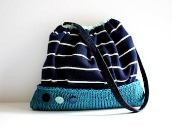 Nautical bag navy blue white stripes knit purse cotton handbag teal knit vintage buttons memake fashion handmade