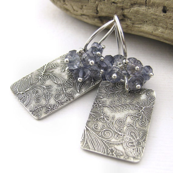RESERVED - Iolite Earrings Sterling Silver Blue Geometric Jewelry Gemstone Cluster Denim Handmade Fashion Jewelry - Lily No. 8