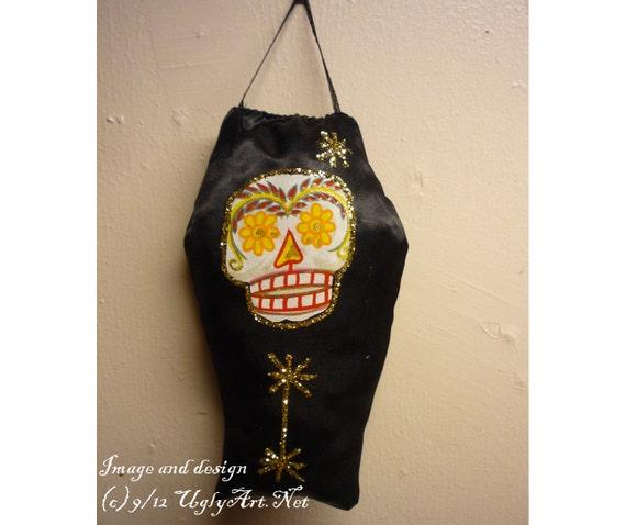 Day Of The Dead Sugar Skull Plush Altar Coffin by Ugly Shyla