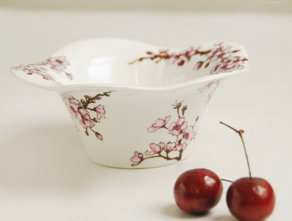 ready to ship - Hand Painted Noodle Bowl - Cherry Blossoms, Botanical Collection