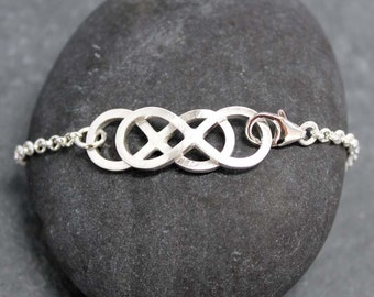 DOUBLE INFINITY Chain Bracelet, for women, Chain, sterling, silver