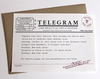 Telegram Wedding Invitations - Set of 100
