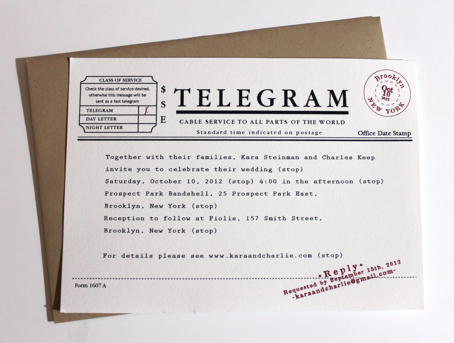 Telegram Wedding Invitations Set Of 100