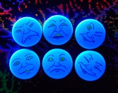 Blacklight Art Man in the Moon Six Comical Faces that Glow Under Black Light