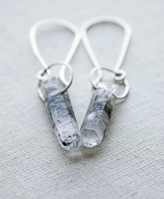 Crystal quartz earrings, gemstone jewelry, metalwork, sterling silver, grey point spike boho modern simple