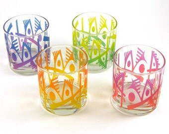 Woodeye Abstracts Lowball Tumblers - Etched and Painted Glassware - Custom Glass Barware