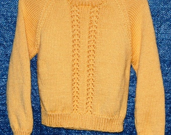 Girl, size 8/10, Sunshine yellow sweater with lacy panels.