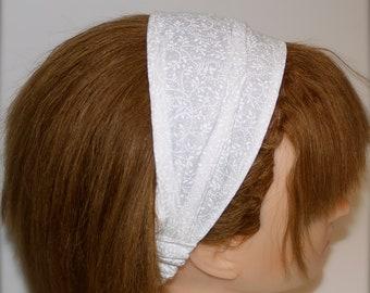 Comfy Fabric Headband.  White tone-on-tone fabric.