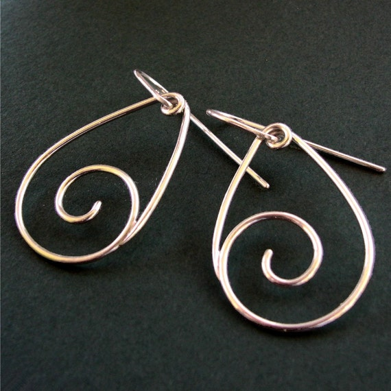Dangling Back Spirals: Sterling Silver Spiral Front Facing Earrings
