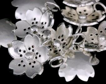 4KH-002 thai karen hill tribe silver 4 flower charm