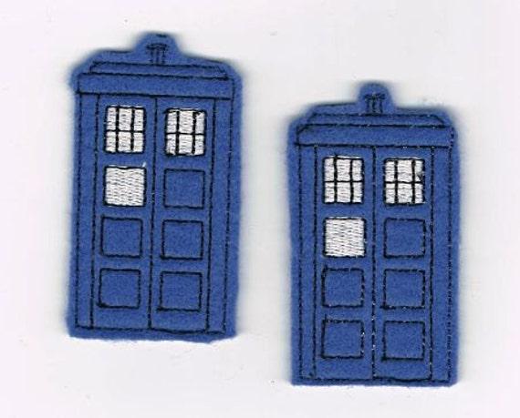 Tardis Dr Who Hair Clip Feltie Barrette Set Time Travel Machine set of 2 bows or Magnet