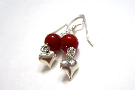 Red Casual Earrings, Cute Earrings, Dark Cherry Red Bamboo with Silver Heart Dangles christmas valentines romance love blood red holiday