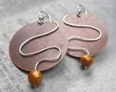 Brass Circle Wire Design Golden Pearl Dangle Earrings