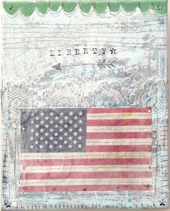Liberty, Mixed Media Americana Painting