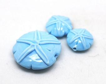 Margo lampwork beads sand dollar light blue (3)