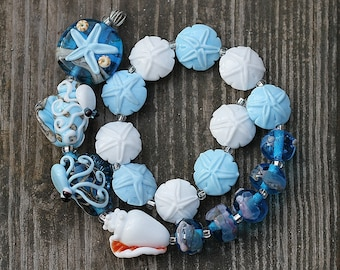 Made to Order Margo handmade lampwork beads seashell set  (19)