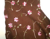 SALE!  Embroidered linen yardage- Brown with pink flowers and green vines-brown and pink linen- ONE YARD