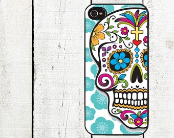 iphone 6 case Day of the Dead iPhone Case - Sugar Skull iPhone Case - iPhone 4, 4s - iPhone 5 Case - Blue Flowers
