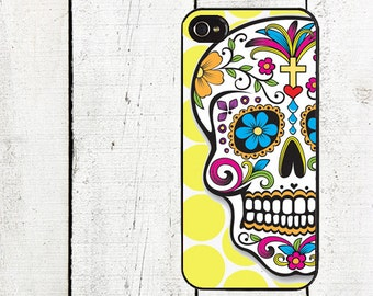 iphone 6 case Day of the Dead iPhone Case - Sugar Skull iPhone Case - iPhone 4, 4s - iPhone 5 Case - Yellow Polka Dots - Galaxy s3 s4 s5