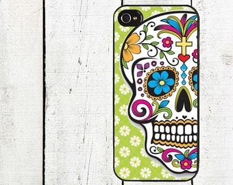 iphone 6 case Day of the Dead iPhone Case - Green Daisy Sugar Skull iPhone Case - iPhone 4, 4s - iPhone 5 Case - Blue Flowers