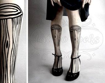 Wooden Legs TATTOO gorgeous thigh-high stockings White