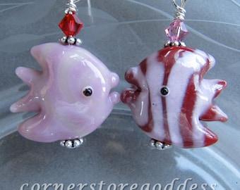 Lampwork Glass Pink Red Angel Fish Earrings by Cornerstoregoddess