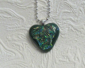 Green Dichroic Fused Glass Heart Pendant Necklace