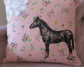 Pillow Cushion Cover Horse and Lace on Pink Floral Linen Shabby Chic