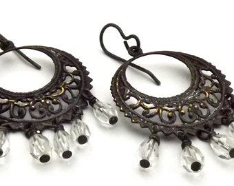 Blackened Brass Filigree Hoop Earrings with Crystal Dangles