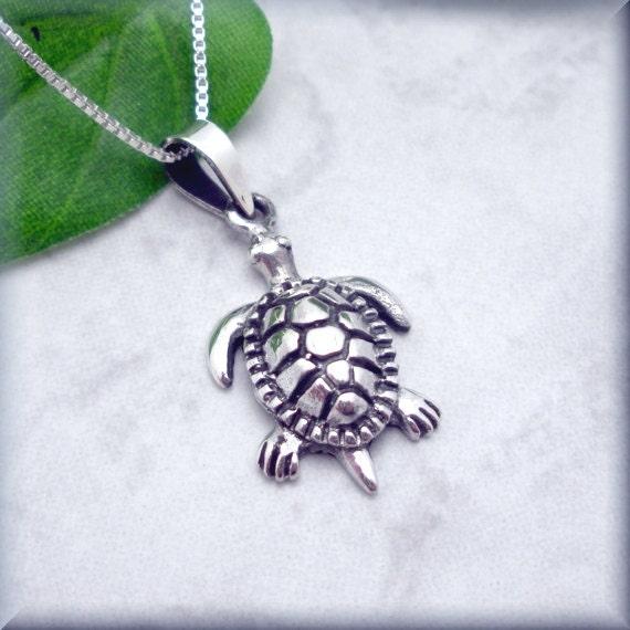 Sea Turtle Necklace Ocean Necklace Beach Jewelry Sterling Silver Pendant Beach Jewelry Ocean Creature Animal Tortoise Wisdom (SN708)