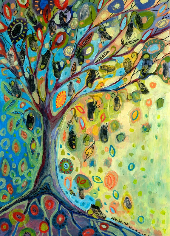 "Abstract Shoe Art - ""The Running Tree""  12x16 Fine Art Print by JENLO"