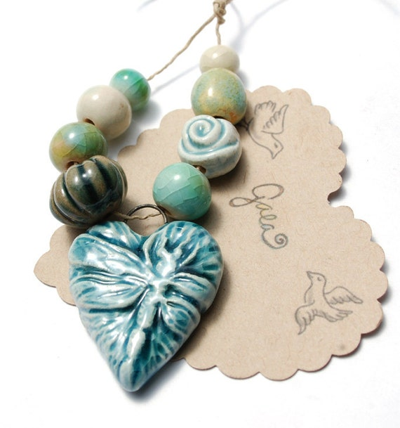 RESERVED for the lovely noonaboo  / Dragonfly / Pastel Ceramic Heart Pendant and Bead Set