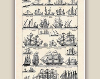 Nautical Print, Vintage sail and row boat images, Seaside Prints, sailboat print,  nautical  sailing Decor,  cottage decor, Coastal decor