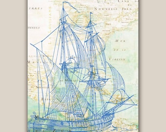 Blue bilander sailboat Print, 11X14 print, old map Mexico golf print,  Marine  Nautical art, Coastal Living, ocean map art, beach cottage