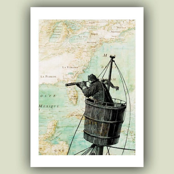 Nautical Prints Sailor on lookout duty in the crow's nest Print, 5x7 Print on old Mexico Gulf  map, Nautical  Map Art Print, Matte Print