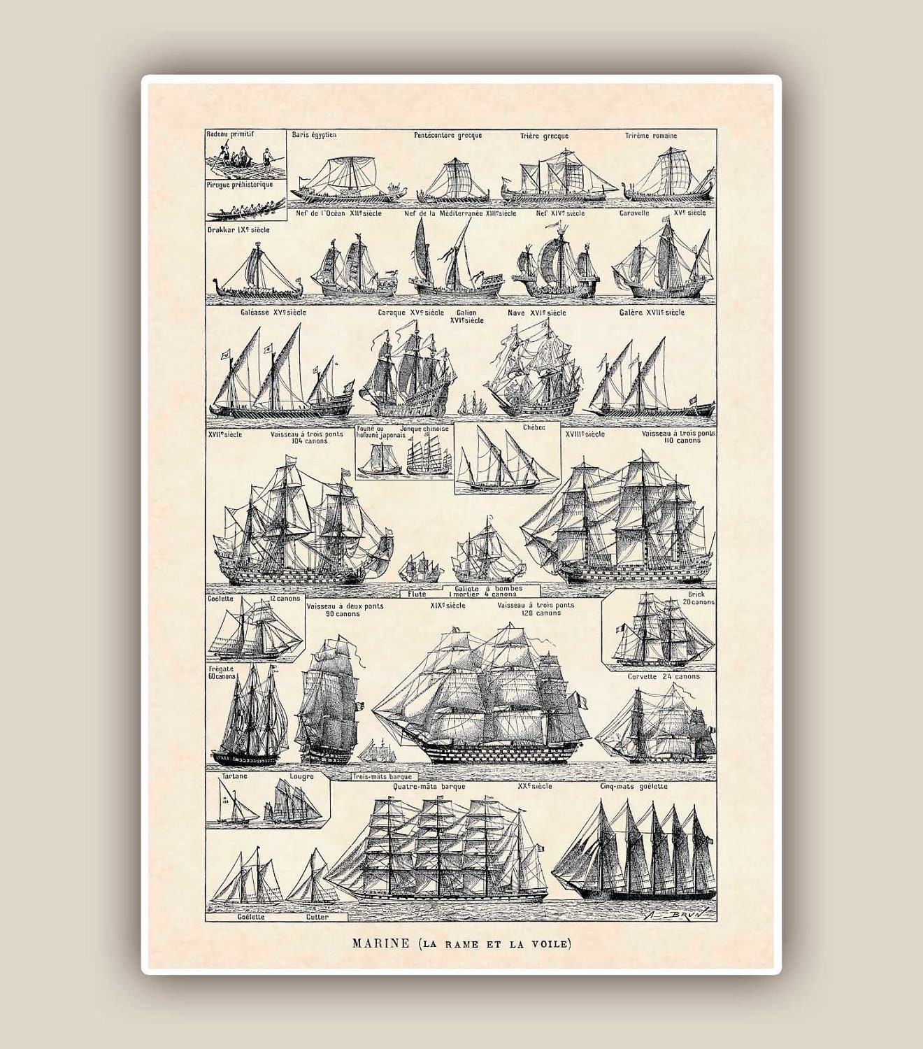 Nautical Print Vintage sail and row boat images Seaside