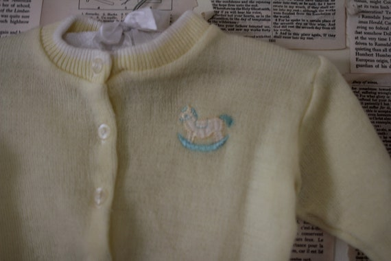 Vintage Yellow Baby Sweater - Retro Hipster Cardigan with Rocking Horse - Easter Newborn Winter Jacket - Baby Clothes Clothing - Shower Gift