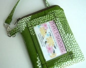 ID Window Wallet Gadget Case Padded Zipper Pouch With Clip- Eco Friendly New Earth Green Leaf