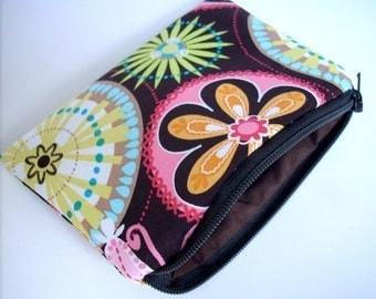 SALE Zipper Pouch ECO Friendly Padded Little Coin purse pouch Gadget case Brown Carnival bloom