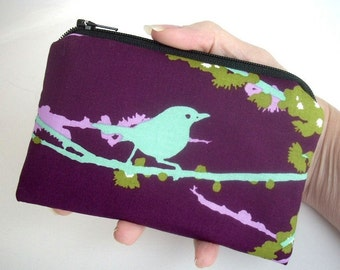 Padded Zipper Pouch Sparrows on Plum ECO Friendly  Little Zipper pouch