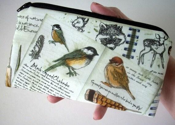Bird Large Coin purse zipper pouch Eco Friendly Padded NEW Natures Bird Walk