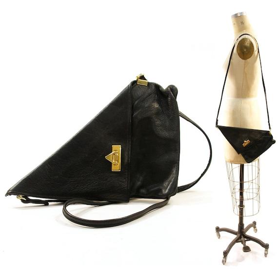 80s Triangle Leather Purse / Clutch in Black