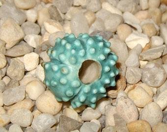 matte turquoise blue sea urchin beads - choose quantity -  handmade porcelain ceramic