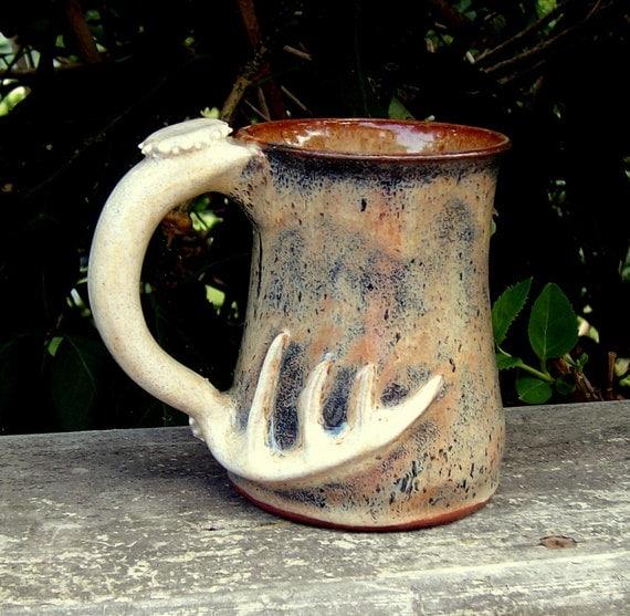 smaller camo antler mug handmade ceramic pottery deer antler style camoflauge coffee mug - 10 ounce capacity
