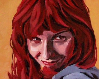 DEVILISH original oil portrait of girl with devil horns